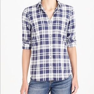 J. Crew Mercantile Navy/ White Flannel Shirt SZ M
